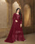 Wine Colored Wedding Wear Semi Stitched Sharara Suit