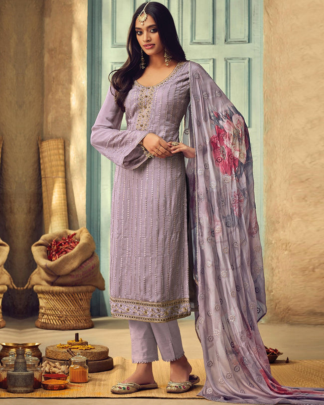 Light Purple Color Pure Chinon Embroidered 100% Original Pakistani Suits