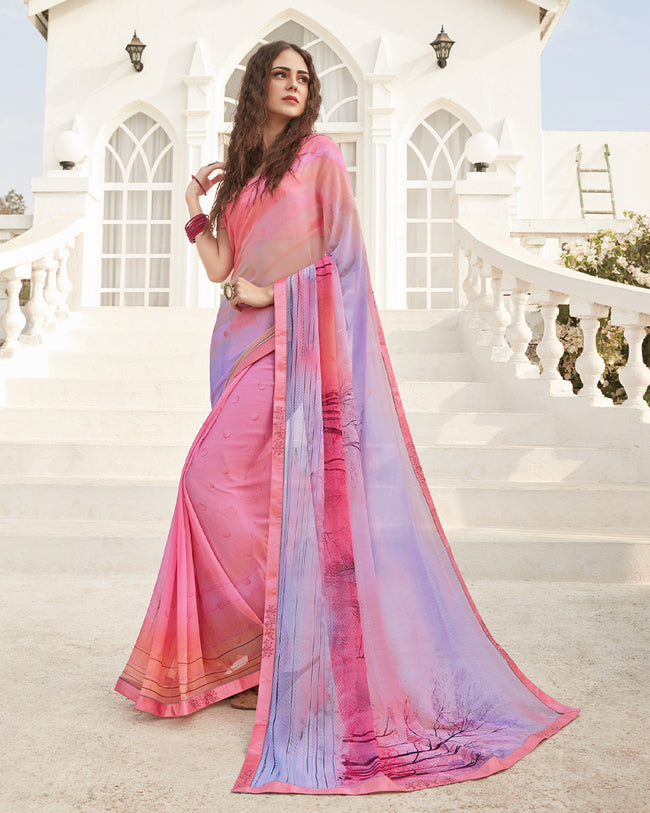 Pink  Color Pure Georgette digital print Saree