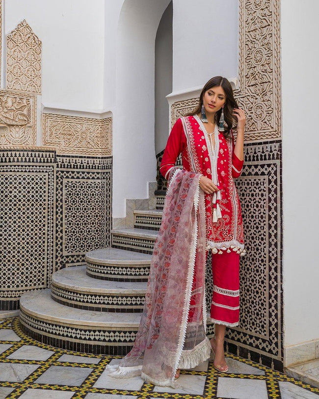 Amazing Red Color Pure Cotton Lawn Pakistani Palazzo Suit