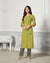 Green Color Casual Wear Rayon Slub Palazzo Suit
