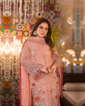 Cool Peach Color Georgette Unstitched Pakistani Palazzo Style Suits