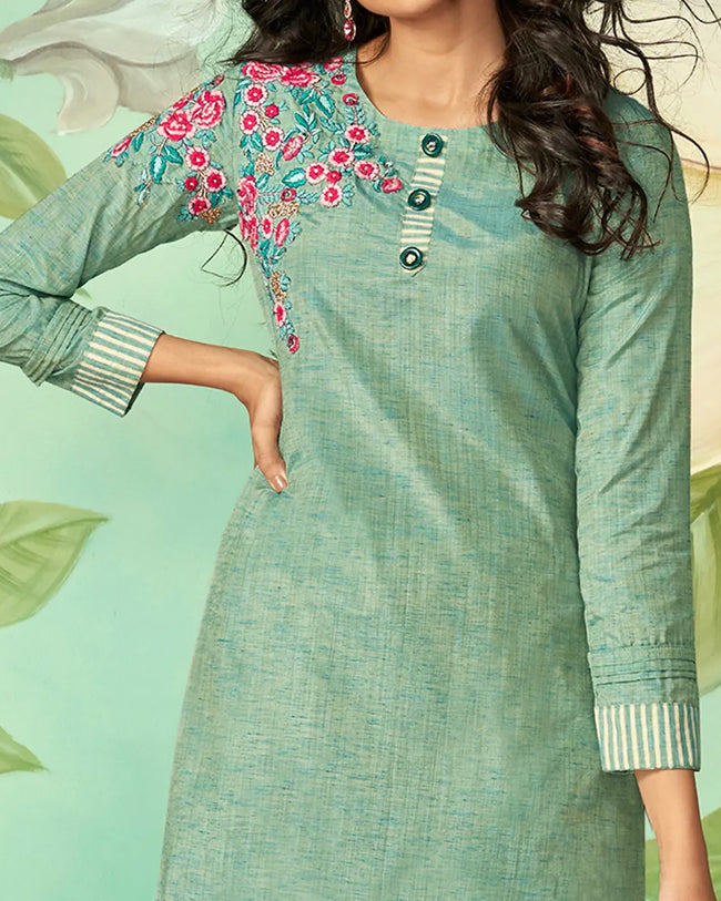 Teal Green Color Casual Wear Cotton Silk Pant Style Suits