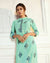 Sea Green Color Party Wear Printed Palazzo Style Suits