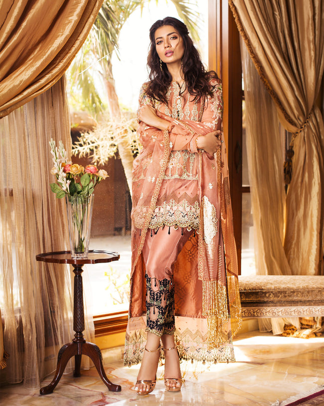Jazzy Peach Color Fox Georgette Unstitched Pakistani Pant Suit