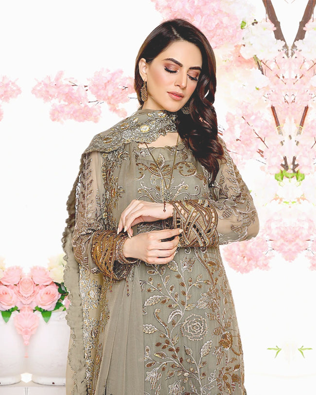 Khaki Brown Color Georgette Unstitched Pakistani Palazzo Style Suits