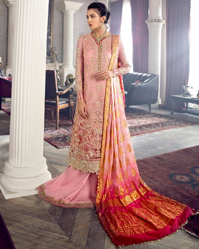 Pink Color Wedding Wear Unstitched Pakistani Heavy Palazzo Suits