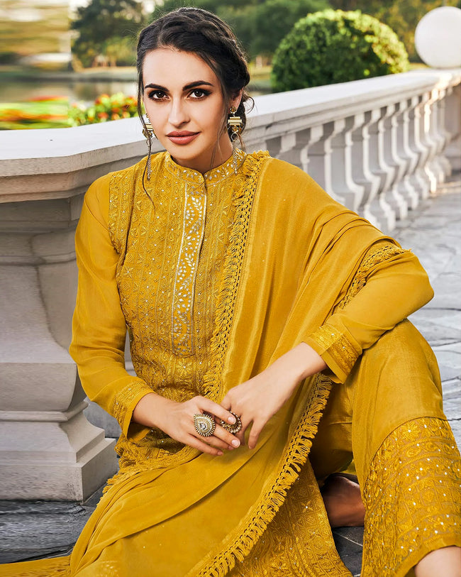 Mustard Yellow Color Festive Wear Pakistani Palazzo Suit with Dupatta