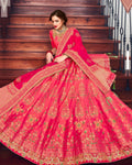Pink Color Bridal Wear Silk Jari Thread Work Lehenga