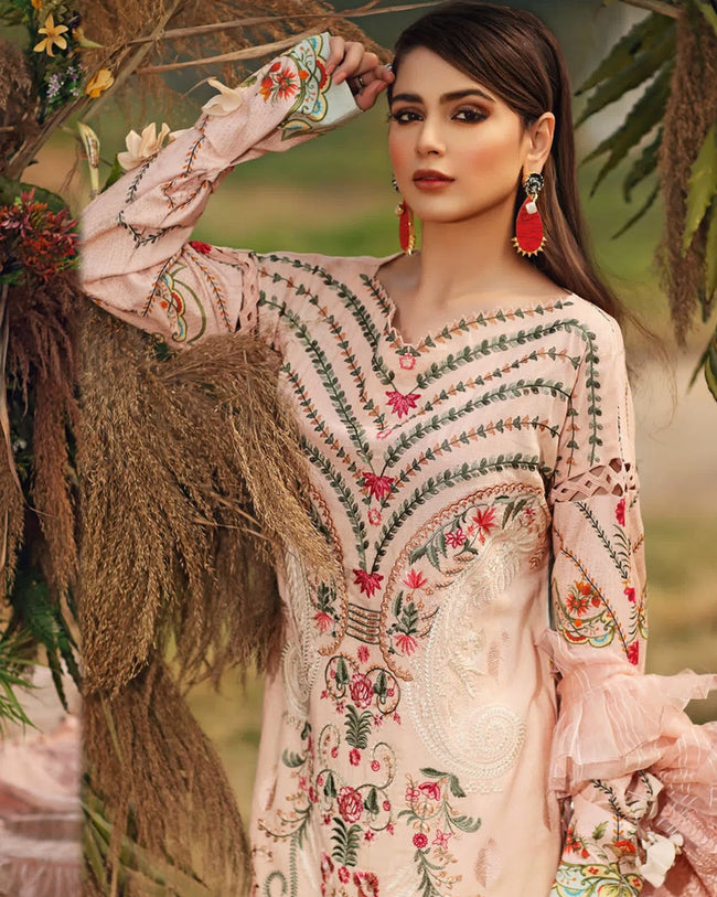 Peach Color Party Wear Cotton Lawn Pakistani Suits (Made in India)