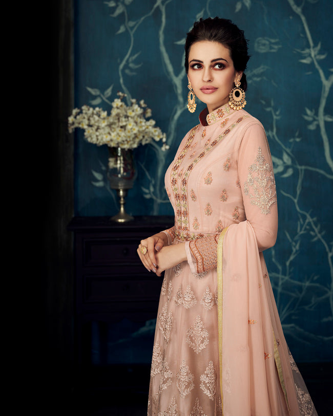 Peach Colored Partywear Embroidered Georgette Semi-Stitched Anarkali Suit