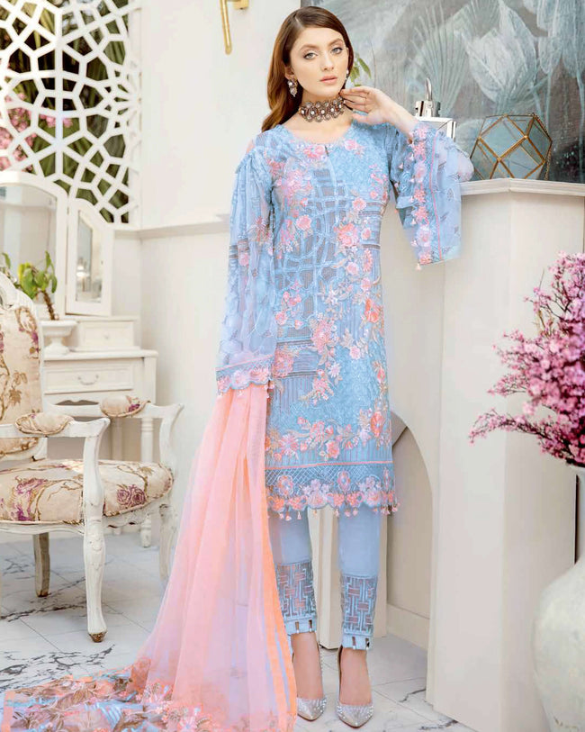 Appealing Light Blue Color Fox Georgette Unstitched Pakistani Suit