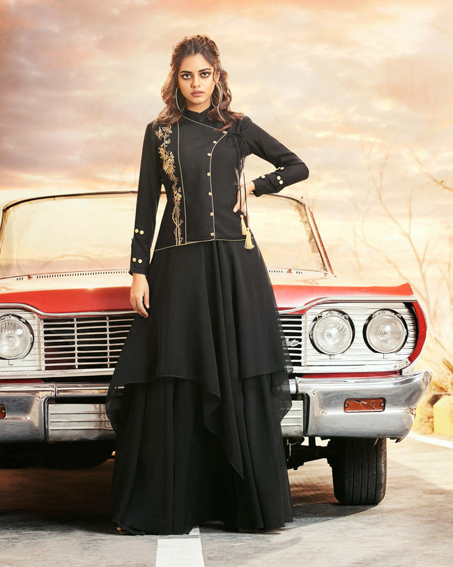 Black Colored Partywear Embroidered Georgette Gown
