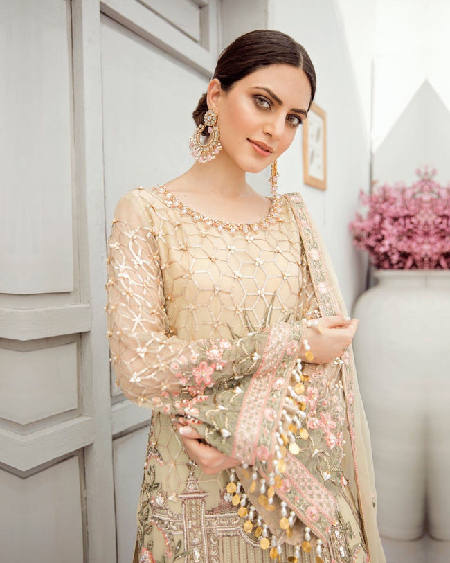 Hypnotic Beige Colored Partywear Embroidered Work Dress Material Suit