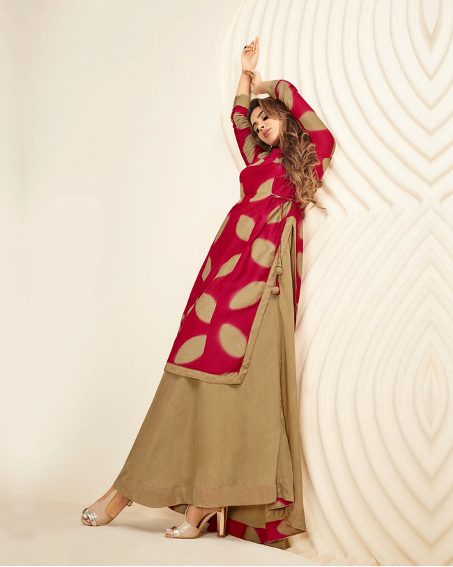 Pink-Beige Colored Partywear Printed Rayon Long Kurti