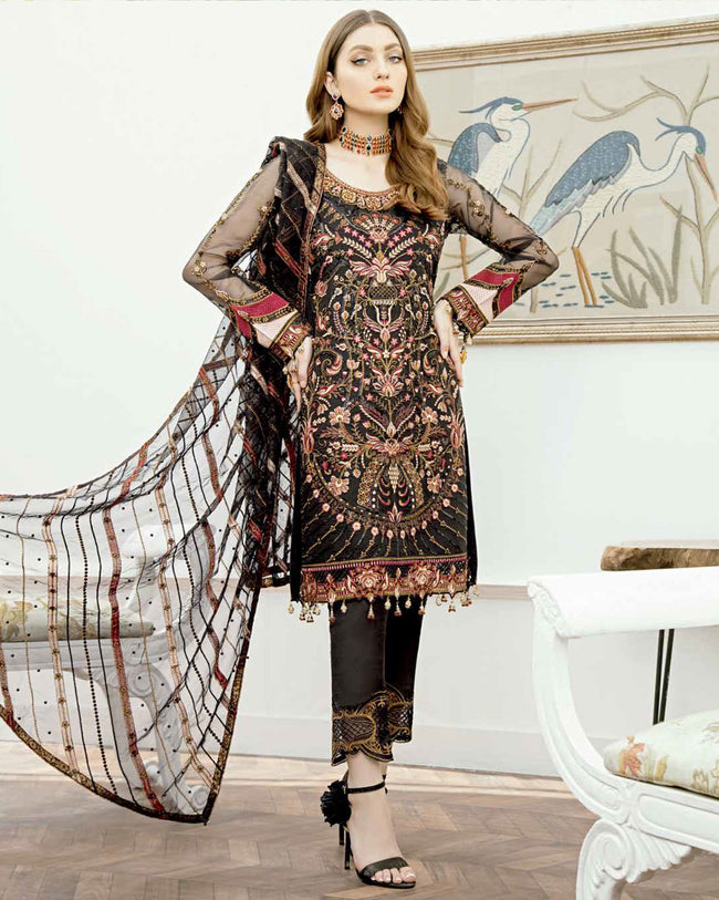 Refreshing Black Color Unstitched Heavy Embroidery Pakistani Dress Material Suit