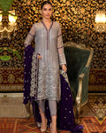 Beige Colored Partywear Embroidered Front Embellished UnStitched Suit With Black Dupatta