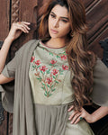 Greenish Grey Colored Partywear Embroidered Soft Silk Sartin Gown