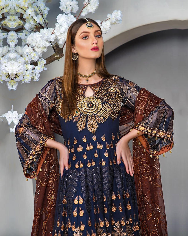 Gorgeous Dark Purple Color Unstitched Pakistani Churidar Suit