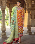 Orange and Pink Wedding Festive Wear Unstitched Suit with Designer Trouser and Dupatta