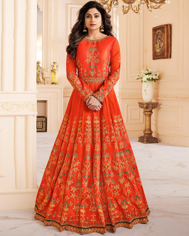 Orange Color Wedding Wear Silk Semi Stitched Embroidery Anarkali Gown