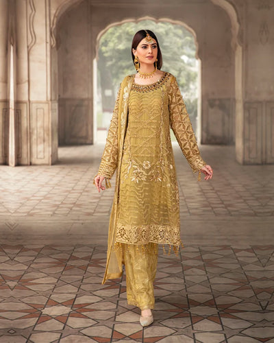 Yellow Colored  Party Wear Georgette Unstitched Pakistani Salwar Kameez Suits