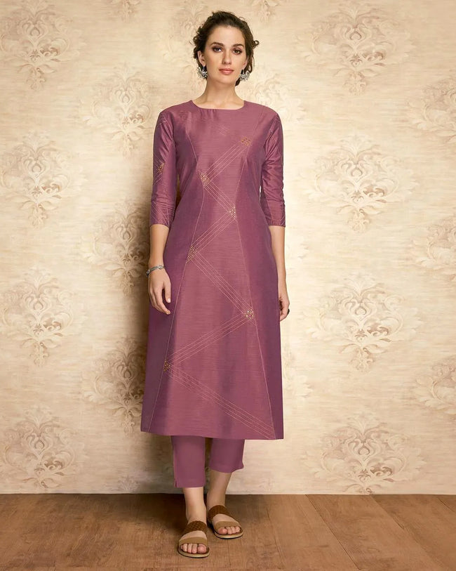 Mauve  Purple Colored Partywear Embroidered Viscose Knee Length Kurti