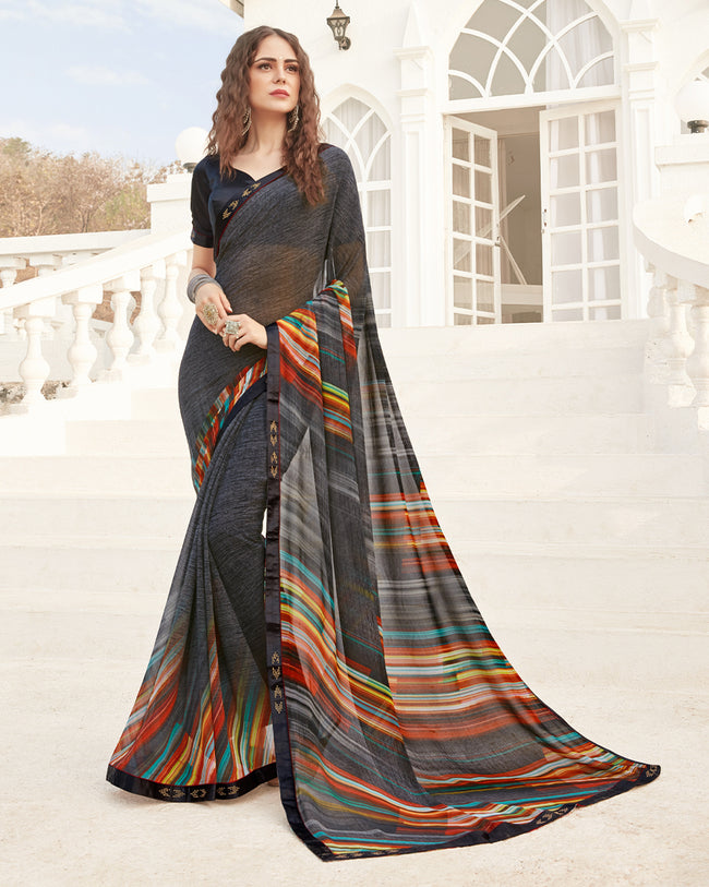 Black Multicolor Color Pure Georgette digital print Saree
