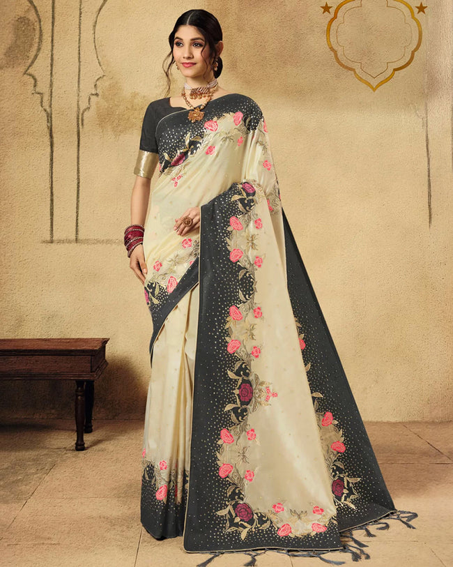 Cream Color Party Wear Silk Jacquard Fancy Saree