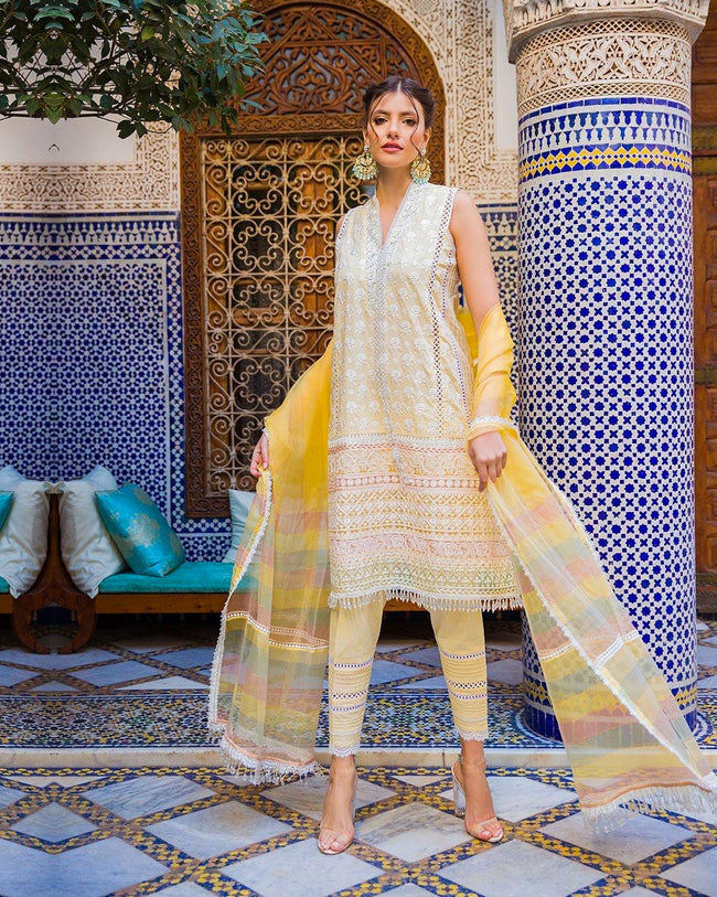 Stylish Light Yellow Color Pure Cotton Lawn Pakistani Pant Suit
