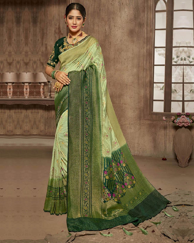 Mehndi Green Color Pure Dola Jacquard Silk Designer Saree