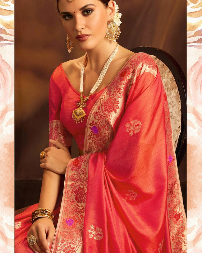 Red Color Two Tone Wedding Wear Jacquard Silk Saree