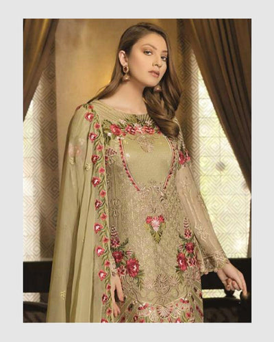 Olive Green Color Unstitched Pakistani Salwar Kameez Suits