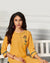 Yellow Color Casual Wear Rayon Slub Palazzo Suit