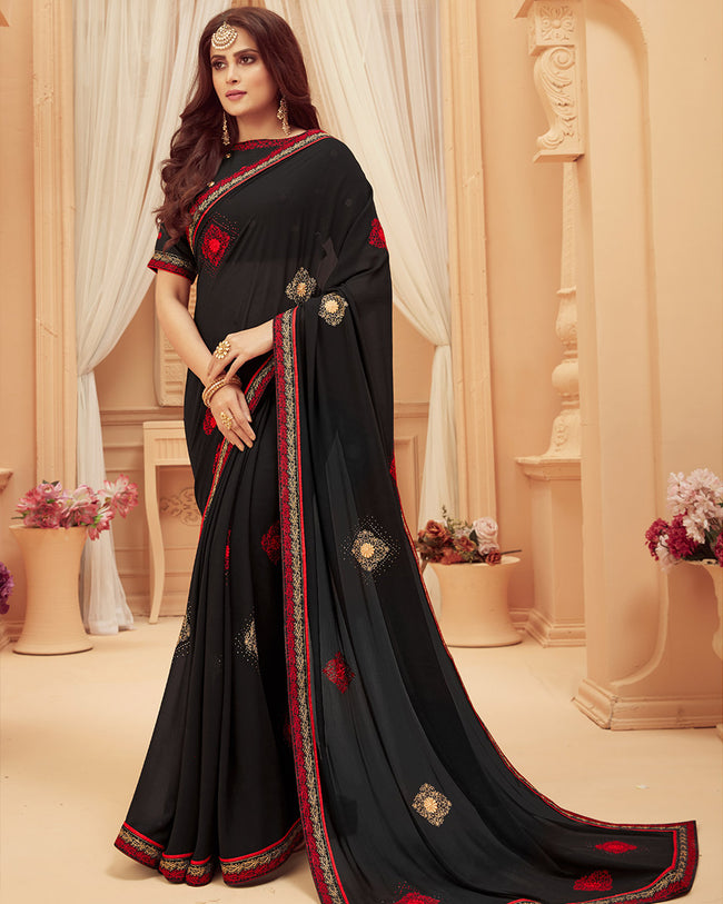 Black Color Fancy Border Classic Designer Saree with Red Border