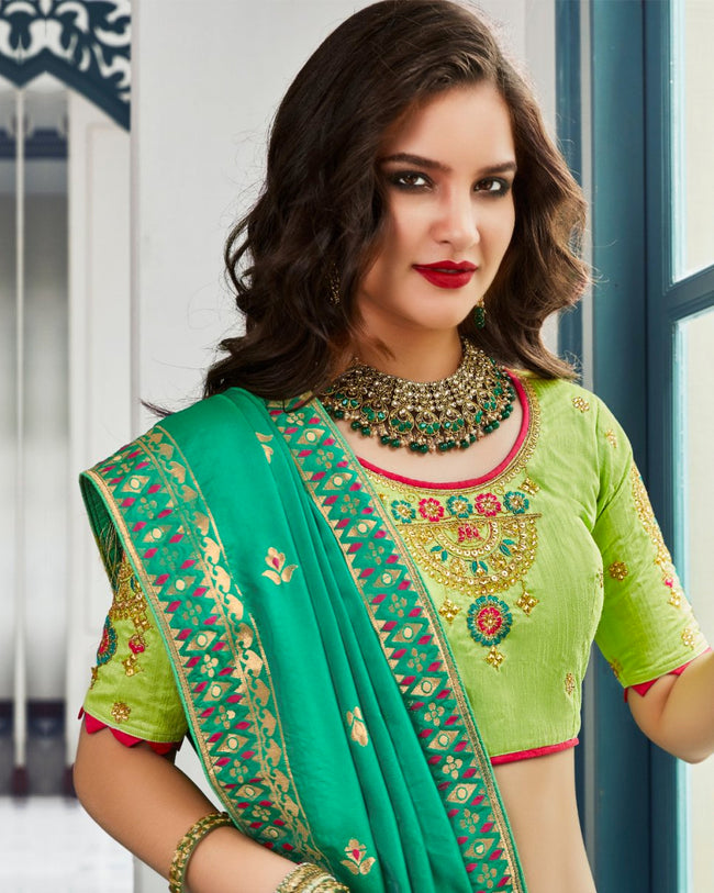Green Color Wedding Wear Silk Jari Thread Work Lehenga