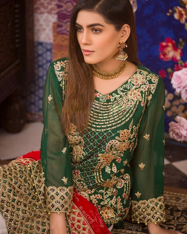 Dark Green Color Unstitched Pakistani Pant Style Suits