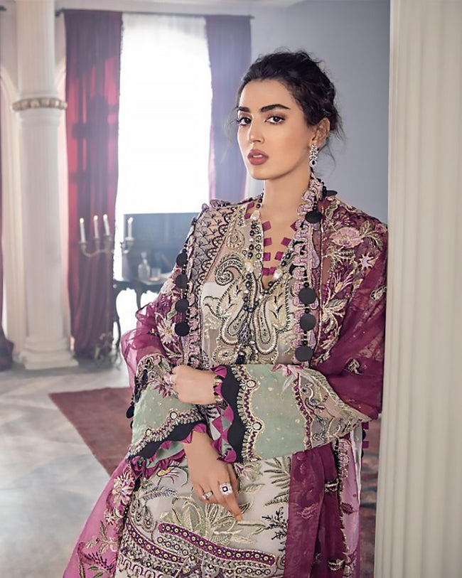 Off White and Purple Color Wedding Wear Unstitched Pakistani Heavy Palazzo Suits