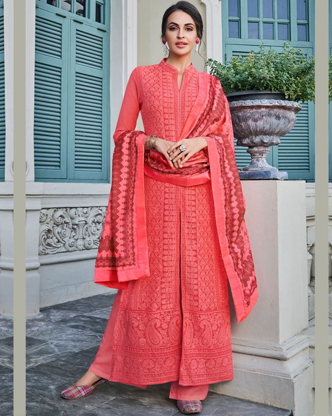 Pink Colored Partywear Embroidered Palazzo Suit With Printed Dupatta