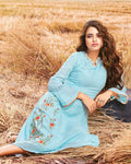 Sky Colored Boat Neck Embroidered Cotton Silk Kurti