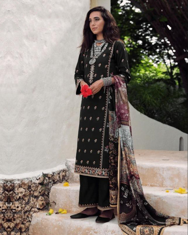 Charming Black Color Pure Cotton Lawn Printed Suit