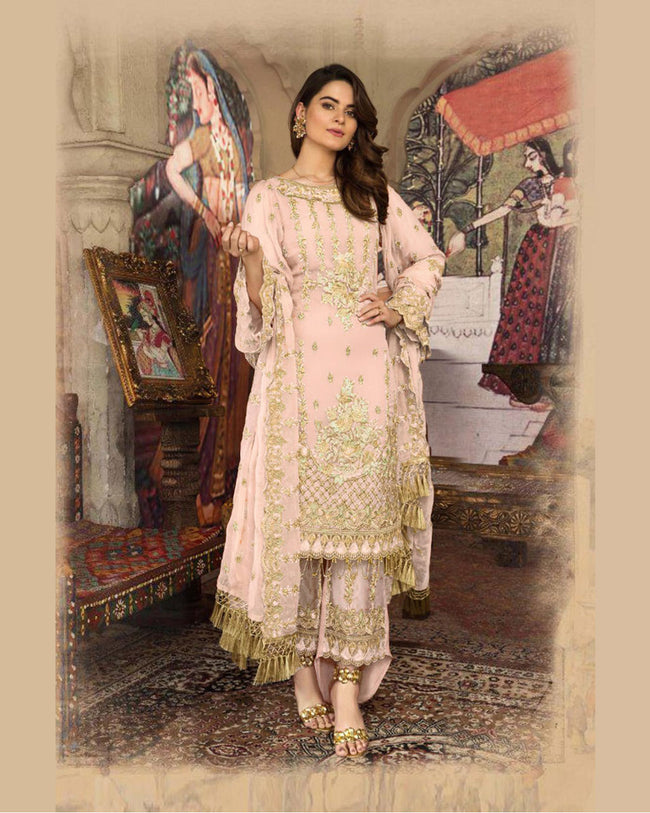 Light Pink Color Faux Georgette Unstitched Designer Pakistani Suits