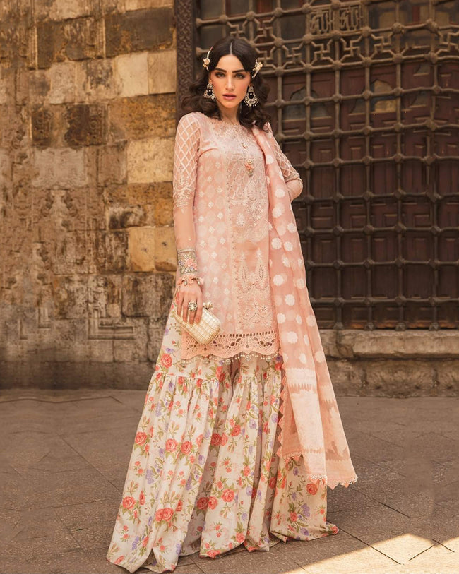Peach Color Cotton Lawn Collection Sharara Suit