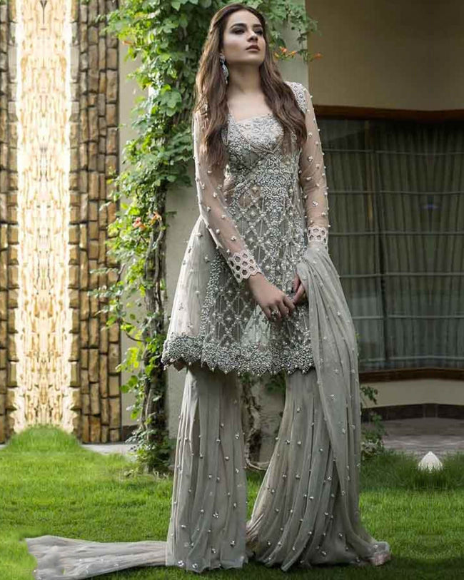Fantastic Gray Colored Netted Palazzo Style Suit