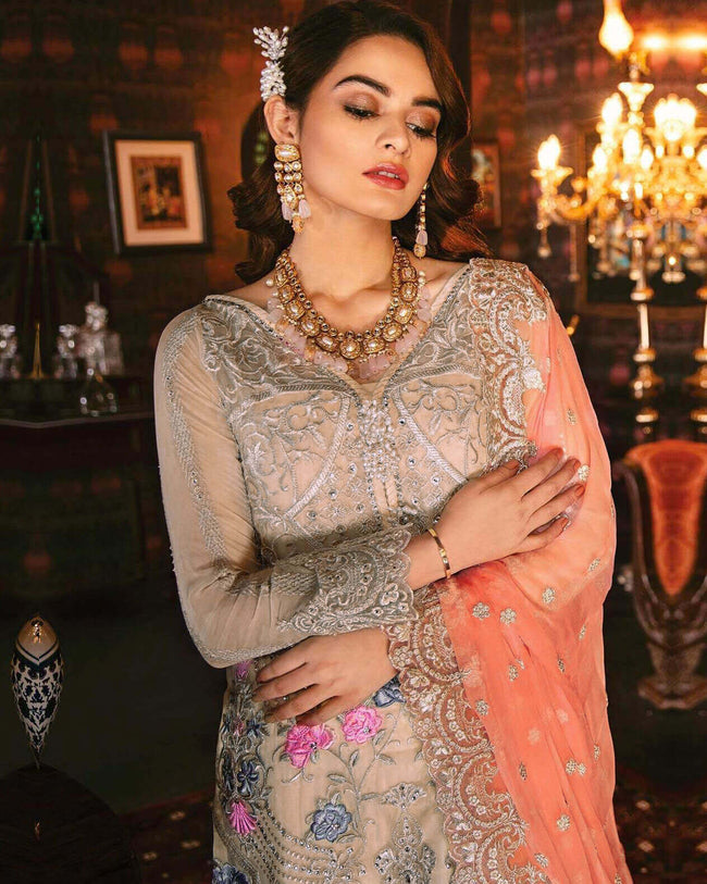 Cream Colored Georgette Pakistani UnStitched Suit With Peach Dupatta