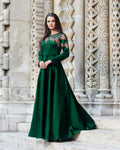 Green Colored Partywear Embroidered Soft Silk Sartin With Semi Jorjat Gown