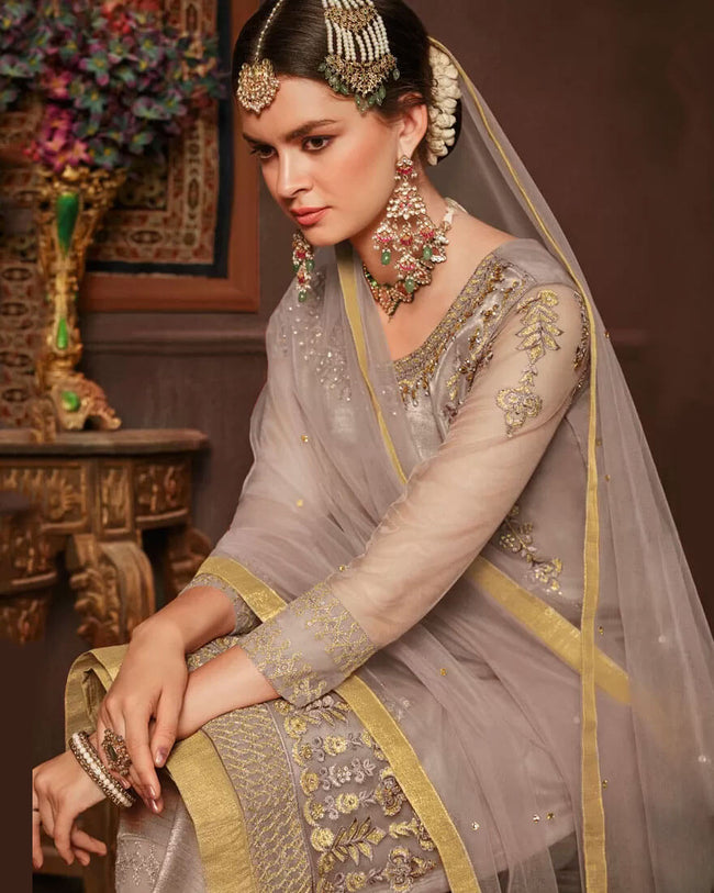 Attractive Beige Color Net 100% Original Pakistani UnStitched Suit