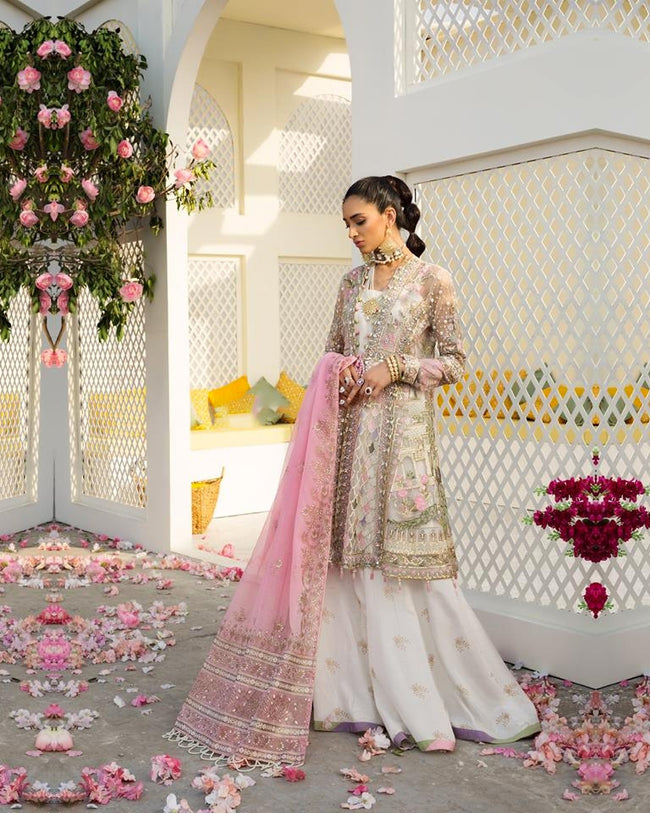 Glowing off White Colored Netted Heavy Embroidery Pakistani Designer Suit