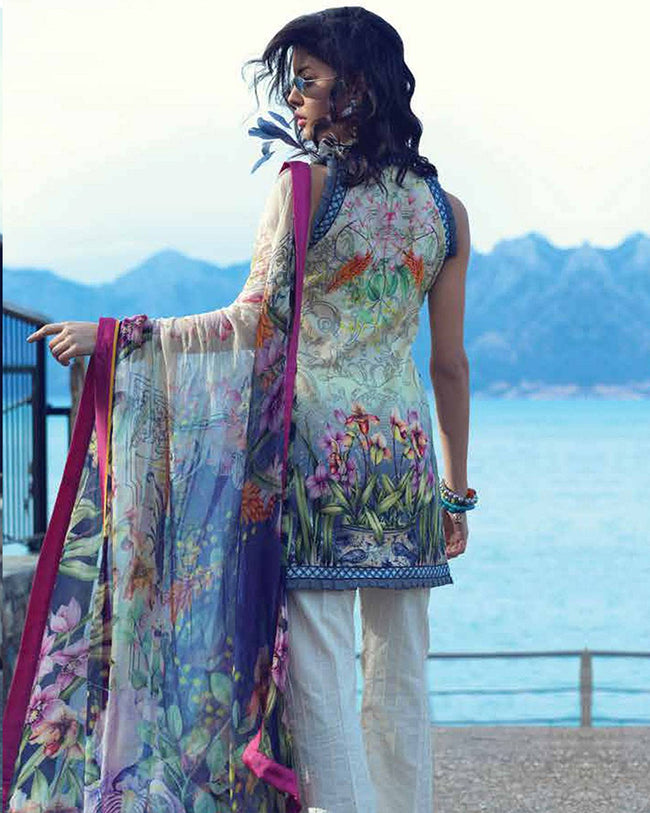 Grey and Off White Color Pure Cotton Lawn Printed Suit