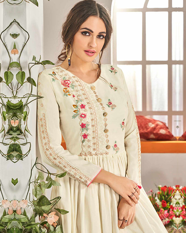 Glowing Cream Colored Florel Stitched Muslin Cotton Palazzo Suit